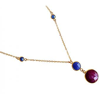 Gemshine - ladies - necklace - gold-plated pendant 925 Silver - - Sapphire - Ruby - blue - red - faceted - 45 cm