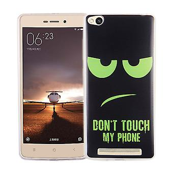 Mobile case for Xiaomi Redmi 3 cover case protective bag motif slim TPU + armor protection glass 9 H dont touch my Phone Grün