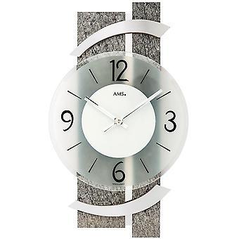 AMS 9548 wall clock quartz analog modern natural stone look with glass and aluminium