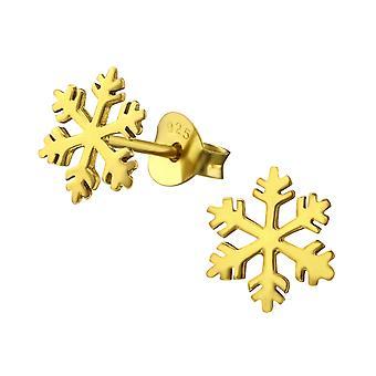 Snowflake - 925 Sterling Silver Plain Ear Studs