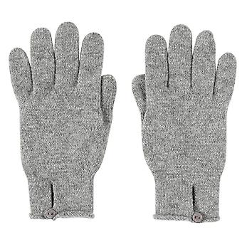 Johnstons of Elgin Button Loop Gloves - Light Grey