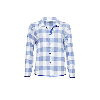 Cyberjammies 3877 kvinnors Elisa blå kontrollera pyjamas pyjamas Top