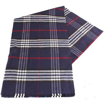 Fraas Checked Scarf - Navy