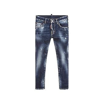 DSQUARED2 Kids DSQUARED2 Kids Blue Rinse Distressed 'Skater' Jean