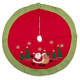 TRIXES 90cm Red White and Green Christmas Tree Skirt Decorative Cover