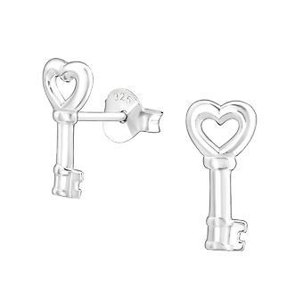 Key - 925 Sterling Silver Plain Ear Studs - W19328X