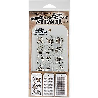 Tim Holtz Mini Layered Stencil Set 3/Pkg-Set #22