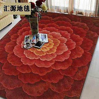 100% Wool 3d Rugs (red Floral Design)