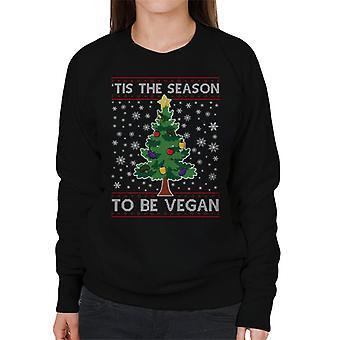 Tis The Season To Be Vegan Christmas Knit Pattern Women's Sweatshirt