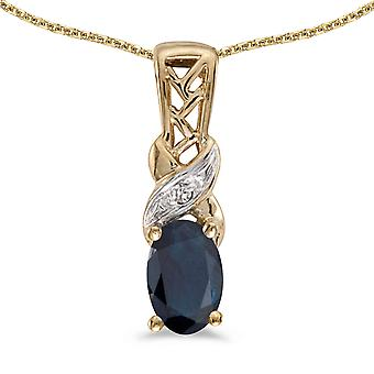 10k Yellow Gold Oval Sapphire And Diamond Pendant with 18