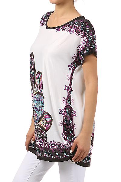 Waooh - Fashion - Top Floral ample and round neck