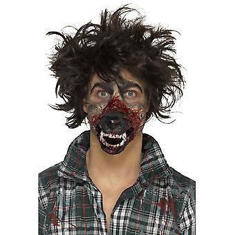 الذئب مطاط رغوة الفم الاصطناعية، براون، بمادة لاصقة