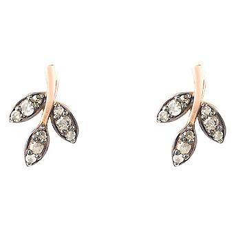 Latelita Sterling Silver Diamond Earrings Pink Rose Gold Leaf Flower Stud Small