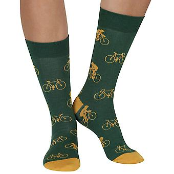 Cycling Man bamboo organic crew socks in green | seriouslysillysocks