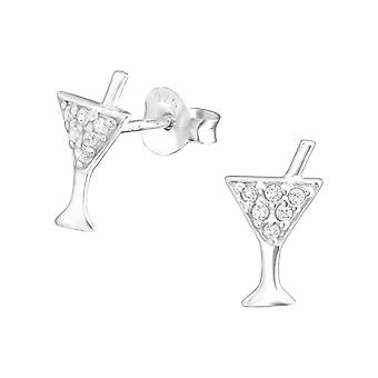 Cocktail - 925 Sterling Silver Cubic Zirconia Ear Studs - W11707X