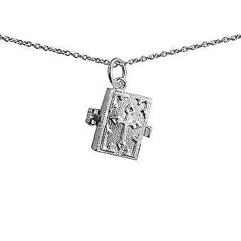 Silver 13x14mm moveable Bible with shrine inside Pendant with a 1mm wide rolo Chain 14 inches Only Suitable for Children