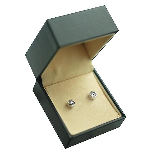 9ct White Gold 5mm round collet set with Cubic Zirconia Stud Earrings no Hallmark