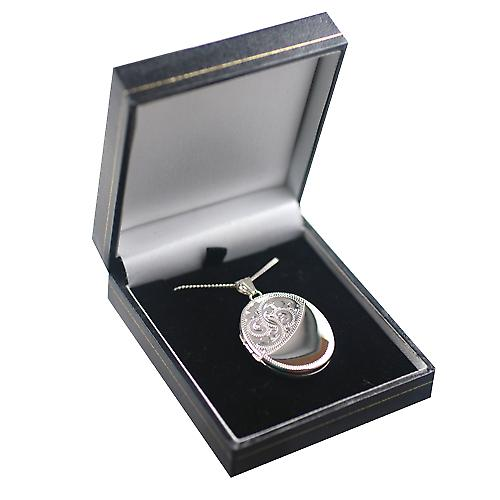 Silver 35x26mm half hand engraved flat oval Locket with a curb Chain 18 inches