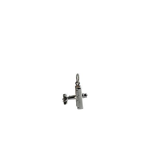 Silver 16x18mm Bi Plane Pendant or Charm