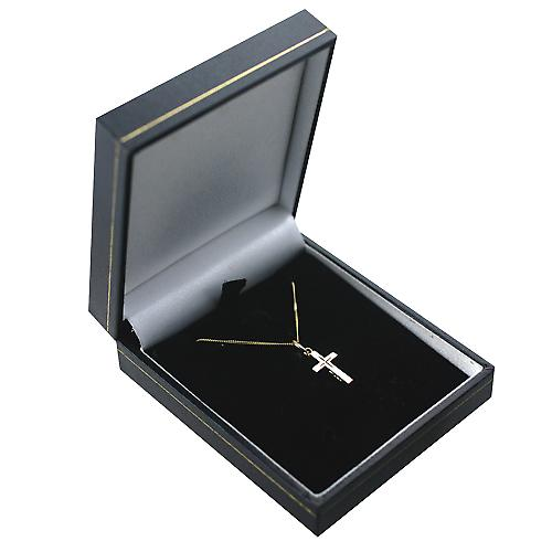 9ct Gold 15x9mm diamond cut star solid block Cross with a curb Chain 16 inches Only Suitable for Children