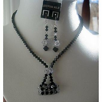 Swarovski Jet Crystals w/ Purse Pendant Necklace Set