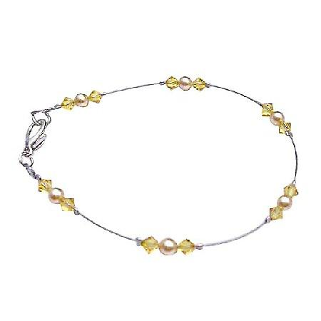Gold Pearls & Citrine Crystals Dainty Swarovski Unique Combo Bracelet