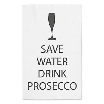 Spara vatten att dricka Prosecco vit kökshandduk grå Text