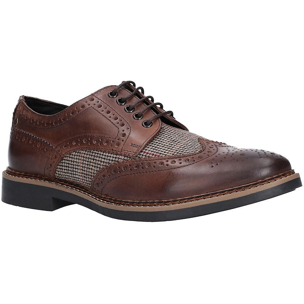 Base London Mens rougehko Waxy Tweed Brogue Oxford chaussures