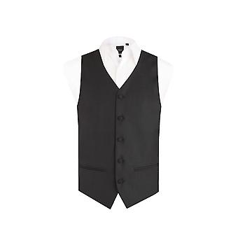 Dobell Mens Black Easy Care Waistcoat Regular Fit 5 Button