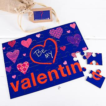 Be My Valentine Secret Message Wooden Jigsaw