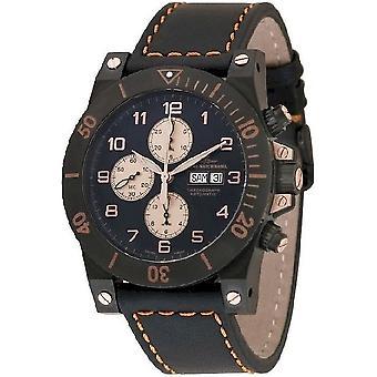 Zeno-watch reloj músculo retro Chrono Negro 8023TVDD-bk-e1