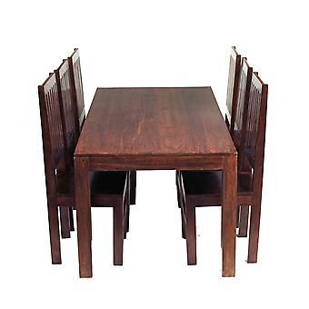 Phoenix Dark Mango 6 posti pranzo impostare con sedie in legno