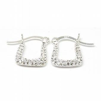 TOC Sterling Silver Clear CZ Handbag Creole Earrings 12mm