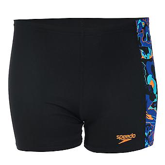 Infant Boys Speedo Logo Panel Aqua Shorts In Black Blue- Elasticated Fit-