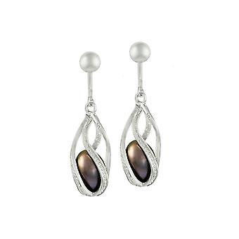 Evige samling tryllebandt sort/Peacock perle Sterling sølv Drop klip på øreringe