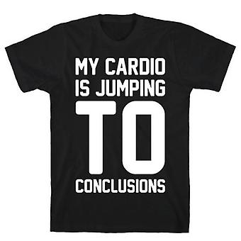 My cardio is jumping to white print t-shirt