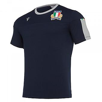 2019-2020 Italie Macron Rugby Travel Tee Navy