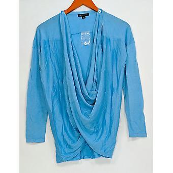 H di Halston Women's Maglione A maniche lunghe Crossover Cardigan Blu A276472