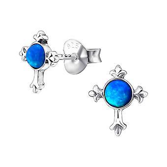 Cross - 925 Sterling sølv Opal og Semi ædle øret knopper - W23678X