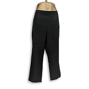 Isaac Mizrahi Live! Women's Plus Pants 24/7 Stretch Crop Black A351754
