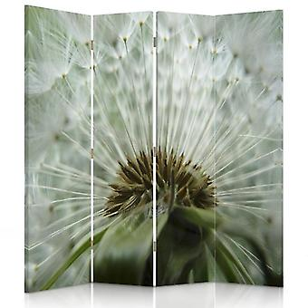 Room Divider, 4 Panels, Double-Sided, Rotatable 360, Canvas, Dandelion