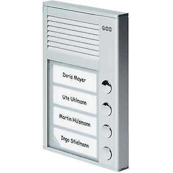 Door intercom Corded Complete kit Auerswald 90637 4 flat building Silver