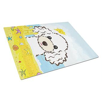 White Poodle Summer Beach Glass Cutting Board Large BB2125LCB