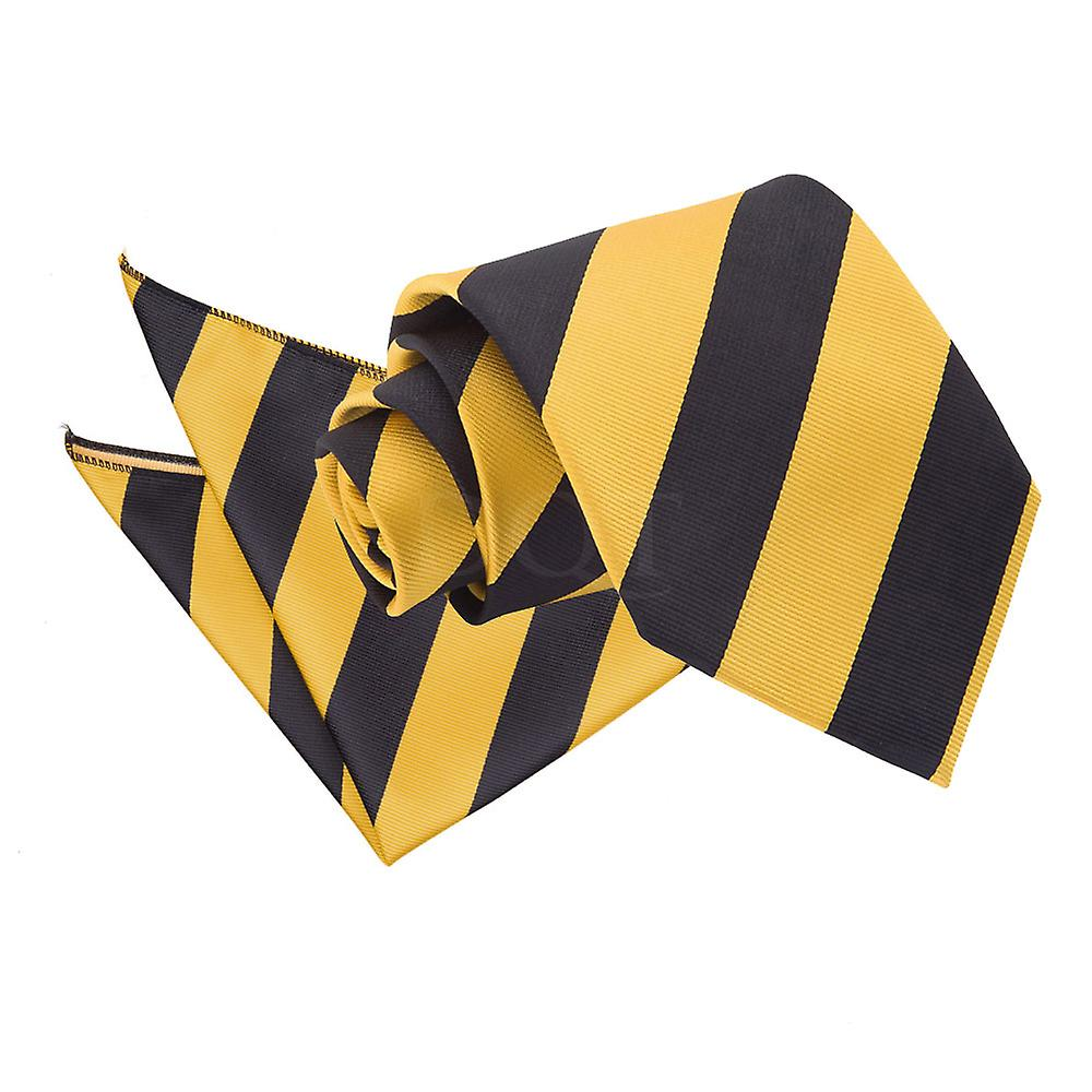 Yellow & Black Striped Tie and Pocket Square Set