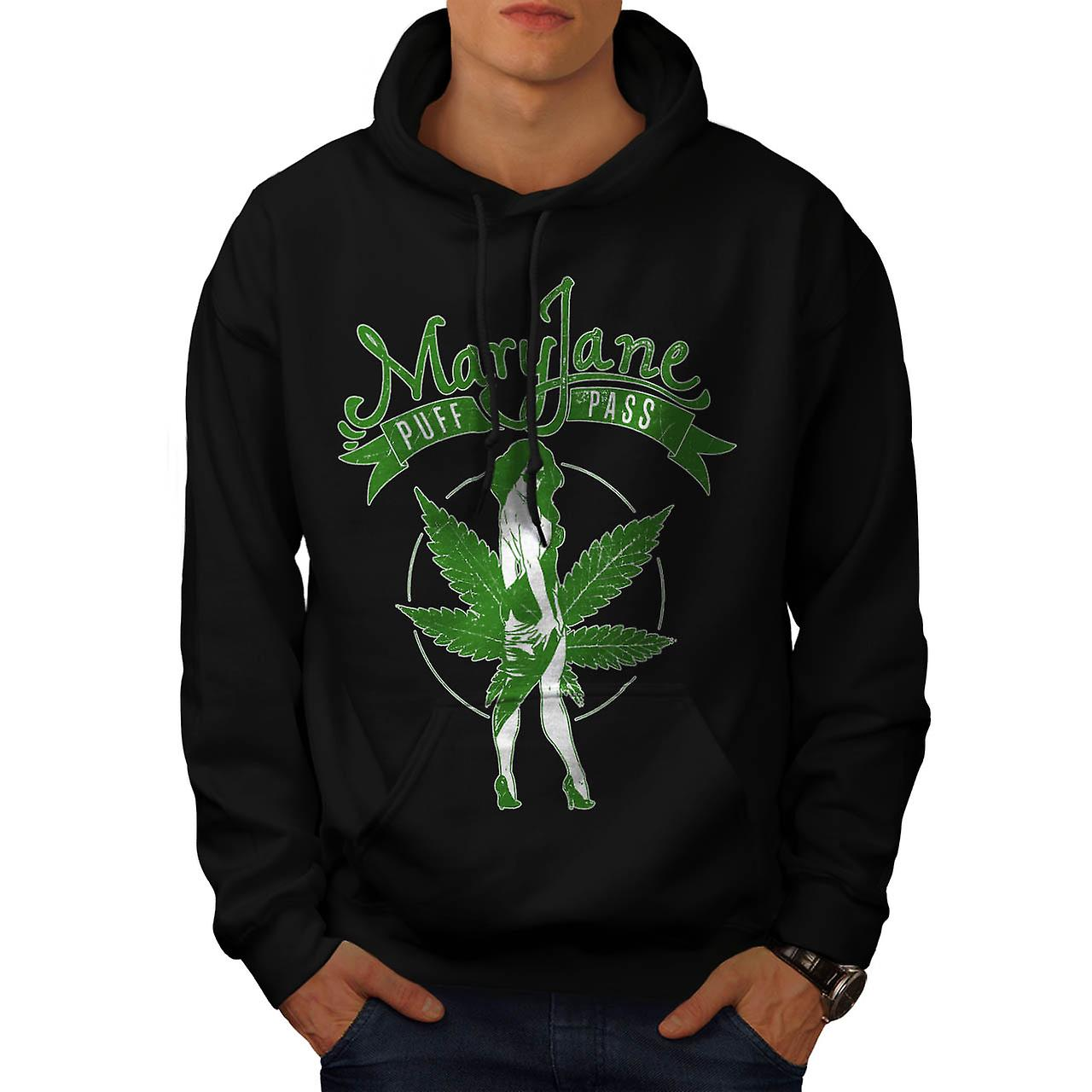 Weed Puff Pass Dope Mary Jane Men Black Hoodie | Wellcoda