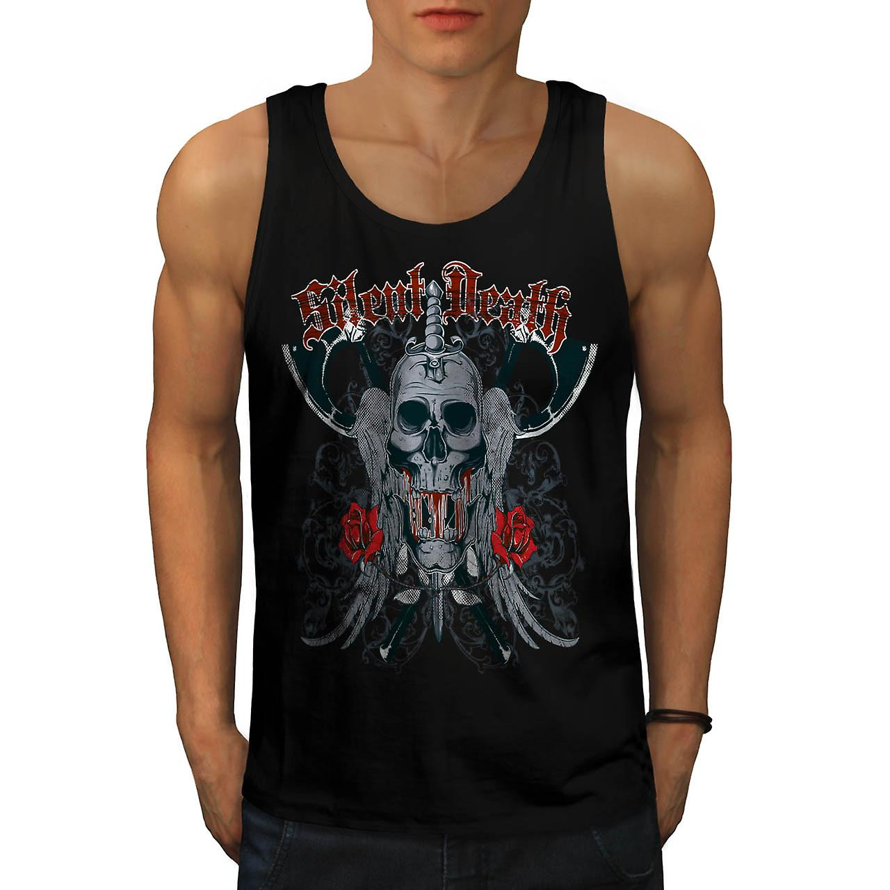 Silent Death Rose Skull Men Black Tank Top | Wellcoda