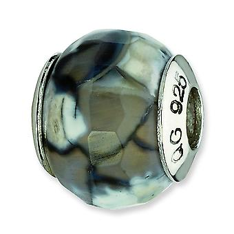 Sterling Silver Reflections Grey Cracked Agate With Shell Stone Bead Charm