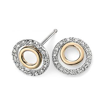 Mijn juweel - D971 - earring White Gold Diamond en goud 375/1000