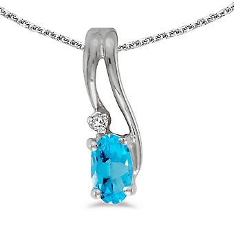 10k White Gold Oval Blue Topaz And Diamond Wave Pendant with 16