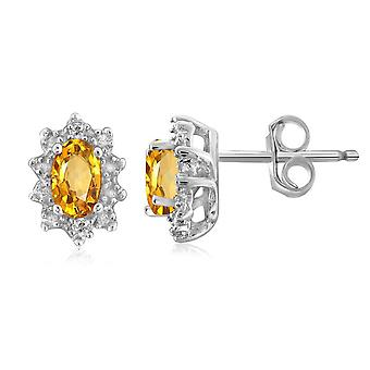 925 Sterling Silver Diamond And Citrine Stud Earrings (0.02 Cttw, G-H Color, I2-I3 Clarity)